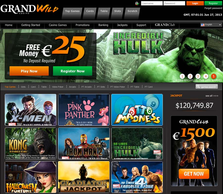 GrandWild Casino Review   $/£/€25 free no deposit bonus codes  
