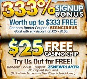 Cirrus Casino No Deposit Bonus Codes